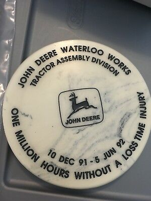 12 1992 John Deere Waterloo Works One Million Hours Without  Coaster Medallion