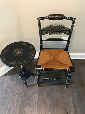 1 Ethan Allen Hitchcock Chair Rush Seat & Eagle Splat w/Stencil And Round Table
