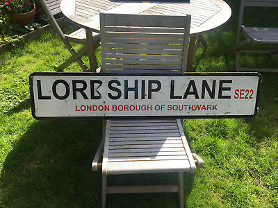 Original London Street Road Sign Lordship Lane East Dulwich Se22