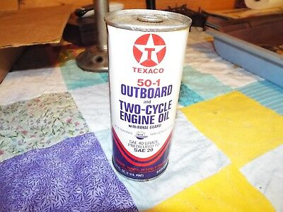 Vintage Texaco 50-1 Outboard & Two-Cycle Engine Oil 1 Full Pint