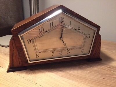 Art Deco 8 Day pentangular wooden cased mantel clock