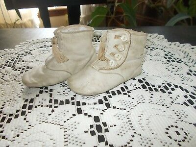 Vintage Antique Baby or Doll High Button Shoes White Leather With Tassels
