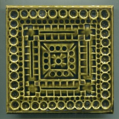 """Relief moulded 6""""sq Abstract tile by Leonard Gladstone King,Malkin-Johnson, 1971"""