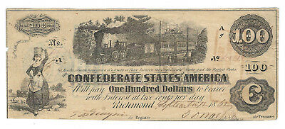 1862 Confederate Currency, $100 Note, T40, Cr-300, Sanford Backstamp, Very Fine
