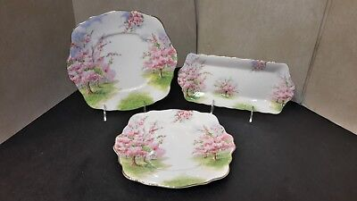 Royal Albert England Blossom Time - Pair of Square Cake Plates & 1 Sandwich Tray