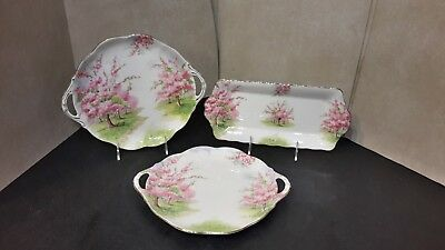 Royal Albert England Blossom Time - Pair of Round Cake Plates & 1 Sandwich Tray