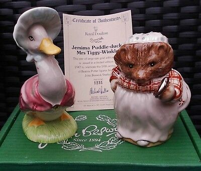 "Beswick Beatrix Potter PAIR ""JEMIMA & MRS TIGGYWINKLE"" LARGE GOLD EDITION RARE!"