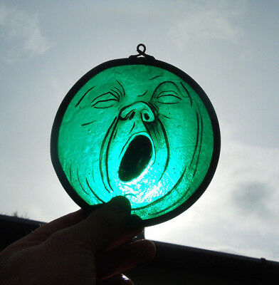 Interesting Stained Glass Yawning Moon Medieval Victorian Decorative Interior