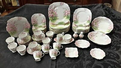 Royal Albert England Blossom Time - 12 Place Settings - Complete Set - 71 Pieces