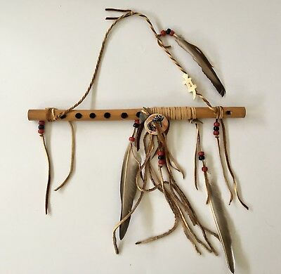 """Native American Style 13"""" Handcrafted Wood Flute Kokopelli Feathers Beads + More"""