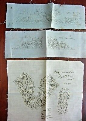 3 Antique Victorian STAMPED TAPE LACE LACEMAKING BABY COLLARS & SHOE Patterns
