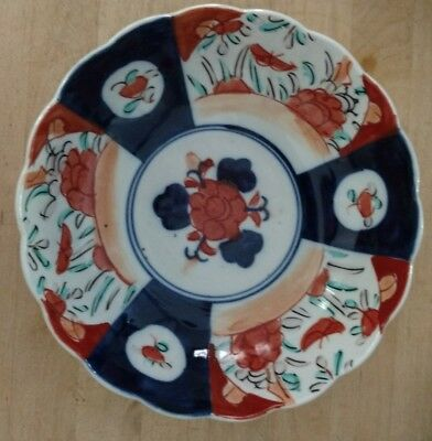 Antique Japanese Imari Porcelain Bowl Scalloped Edge Hand Painted Marked