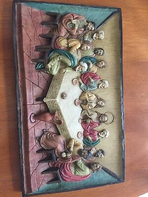 STUNNING 3-D Last Supper Wall Hanging Plaque  12x7 inches
