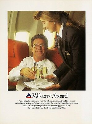 1991 Delta Airlines Welcome AD pretty flight attendant serves flyer Vintage AD