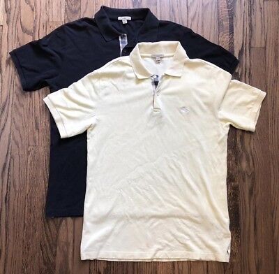 Lot of 2 Burberry Brit Men s Short Sleeve Polo Shirt Nova Check Size Medium 0307fa220bd