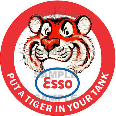 4 Inch Esso Tiger Gasoline Gas Station Decal Sticker Several Sizes Available