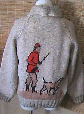 Vintage Hunting Dog COWICHAN HAND KNIT Coat Sweater Wool  Zip Front