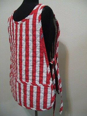 Apron Red White heavy duty plaid BBQ quilted side tie