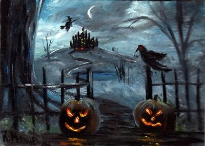 ACEO Art PRINT of Painting Halloween Witch Castle Pumpkins Fantasy K. Manuel