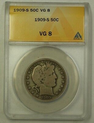 1909-S US Barber Silver Half Dollar 50c Coin ANACS VG-8 (Better)