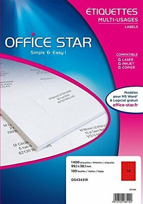 Office Star Box of 1400Multi-Purpose Labels99,1x38,1mmRed os43431r