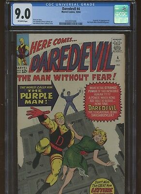 Daredevil 4 CGC 9.0 | Marvel 1964 | Origin & 1st Appearance of Purple Man.