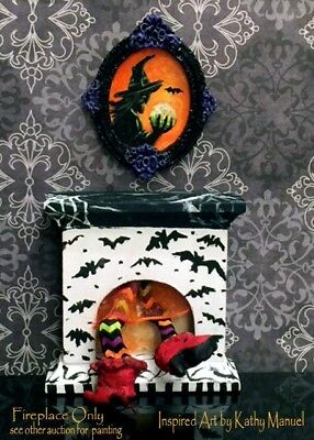 """Dollhouse Miniature Painted Bat Fireplace 1:24 1/2"""" Halloween Witch by K.Manuel"""