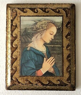 Vintage Italy Florentine Toleware Gold Holy Praying Madonna Small Icon Picture