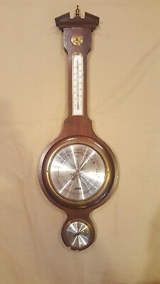 Vintage Jason From Germany Barometer Hydrometer Thermometer Antique Wood Brass
