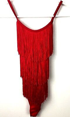 Weissman Size LC Large Child Red Dance Fringe Flapper Dress Halloween