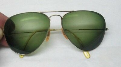 Vintage B&L Rayban Gold Filled Aviator Sunglasses Green Lenses Nice Condition NR