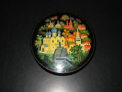 Vintage Russian  Lacquer Round   Box Signed