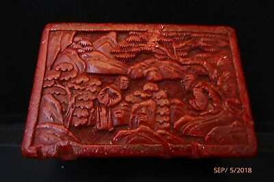 Vintage Carved Chinese Dark Red lacquer Cinnabar Box with Lid