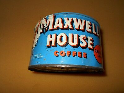 Vintage Maxwell House Coffee 1 Lb. Round Tin Regular Grind Can