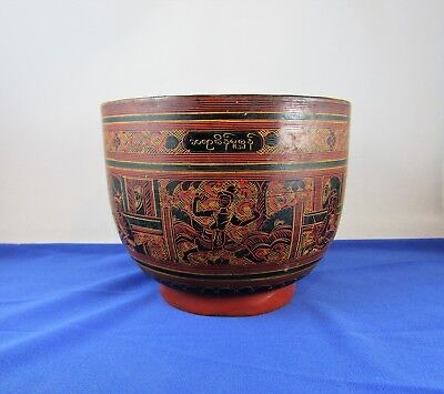 Antique Burma Burmese red lacquer footed bowl c1900 signed