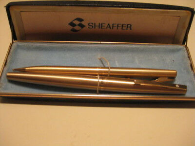 Vintage Sheaffer Fountain Pen and Pencil Set Brushed Gold Finish