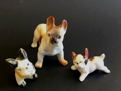 3 Vintage Japanese Bulldogs, 1.5 - 2.5 inches long each, Adorable Set