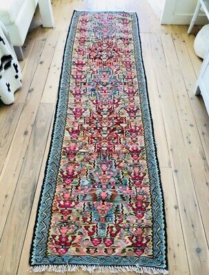 Persian Hand Knotted Somak / Rug 225cm x 62 cm EUC