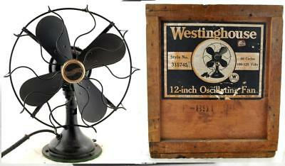 "Antique Westinghouseb 12"" Oscillating Fan Style No. 315745 W/ Box RARE"
