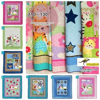 Baby Boy Girl Cotton Animal Patchwork Crib Cot  Set Quilt Blanket 110X130 cm