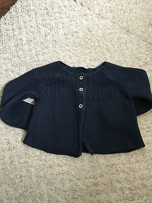 Next Navy Blue Knitted Cardigan Age 6-9 Months Girls