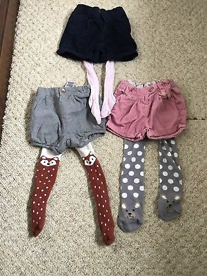 3 Pairs Of Girls Shorts (Next, Mothercare And M&S) And Tights Age 6-9 Months