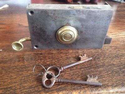 Antique Steel And Brass Lock Latch With Original Key