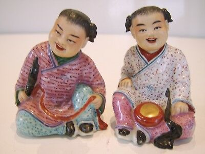Pair Of Old Chinese Figure Statue Ornament - Marks To Base