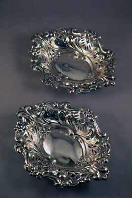 FABULOUS CHESTER STERLING SILVER RETICULATED NUT DISHES (PAIR) c1898