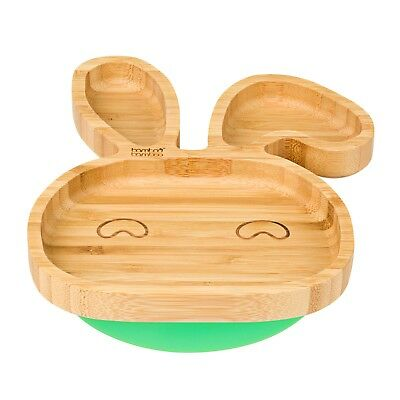 Baby Toddler Bunny Suction Plate Stay Put Feeding Plate Natural Bamboo