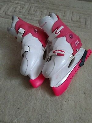 Stateside SFR Pink & White Kids Ice Skates - Adjustable Size 4-7 BNWT/guards/bag
