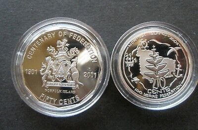 "2001 Centenary of Federation ""Norfolk Island "" Proof 50c and 20c Student design"