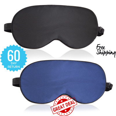 Sleep Mask,2 Pack 100% Natural Silk Eye Shade Cover;Night Blindfold Black & Blue