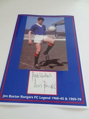 Rangers Fc Legend Slim Jim Baxter Signed Reprint Exclusive A4 Print